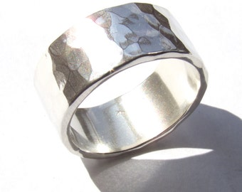 Wide Wedding Ring, Silver Wedding Ring, Hammered Wedding Ring, Hand Made, Hand Forged, His Ring, Her Ring, Rustic Ring