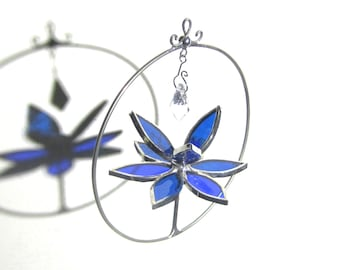 You Pick Any Color - 3D Stained Glass Lotus Spinner - Spinning Flower Suncatcher Ornament Home Decor Wire Crystal Mini Size (MADE TO ORDER)