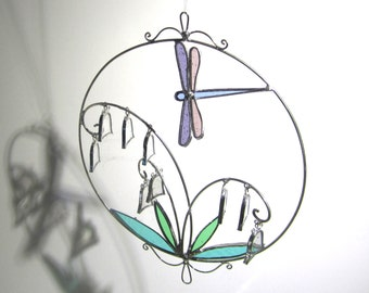 Dancing Bells - 3D Stained Glass Nature Spinner - Lily of the Valley Flower Hanging Wire Suncatcher Snow Bells Dragonfly (READY TO SHIP)