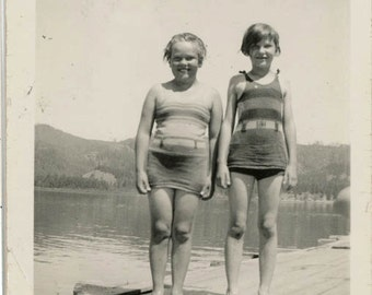 vintage photo 1927 Swimsuit Girls on Dock Fatty & Skinny 1,000 BC