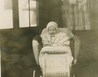 vintage photo 1910 Oh What a Beautiful Baby Wicker Buggy Sweetest SMile