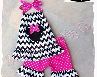 Girl Minnie Mouse Outfit Minnie Mouse Short Outfit Set Capri Pant Chevron Birthday Size 3m 6m 9m 9 12 18 24 month 2 2T 3 3T 4T 4 5T 5 6 7 8