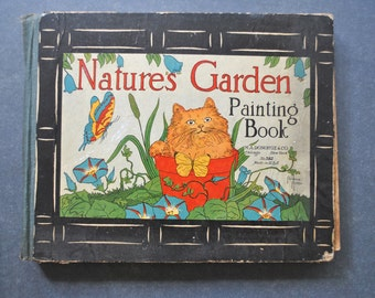 vintage painting book, nature's garden, m.a.donohue and co, florence potter