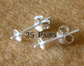 925 Sterling Silver Pad Earring Post With PEG and Earring Backs (4 MM. PAD) - 25 Pairs (50 Pieces)