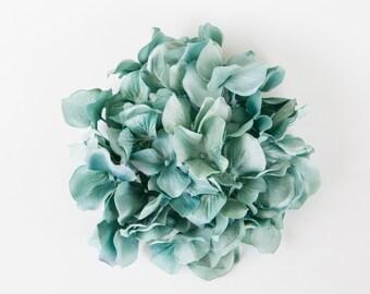 OVER 40 Large Soft Hydrangea Petals in Light Teal  ... silk flower, artificial flower, millinery craft - ONE Hydrangea Head - ITEM 0562