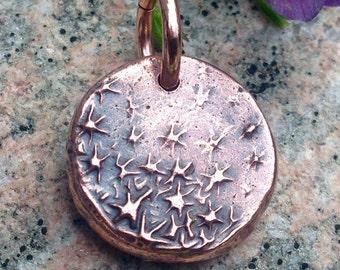 Copper Dancing Stars Pendant or Charm, Tiny Galaxy, Night Sky Charm, Rustic Jewelry