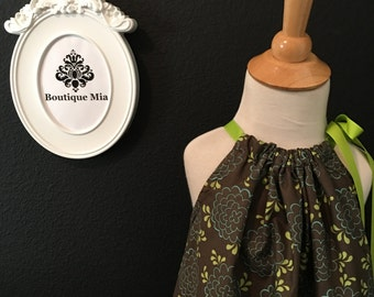 Will fit Size 4T up to 8 yr - Ready to MAIL - Pillowcase Dress or Top - Mod Retro - Army Green and Brown - by Boutique Mia