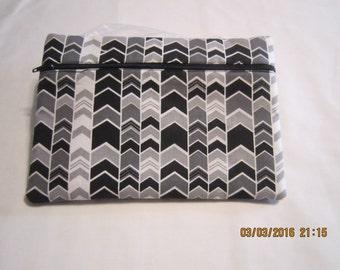 "8"" Cosmetic Bag / Make Up Bag / Pencil Pouch - Black, Grey & White Zig Zag Chevron*"