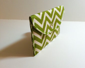 Card Pocket - Green Chevron  - Business Cards - Holder - Wallet - Gift - Holiday - Christmas