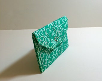 Card Pocket - Teal with White Swirl  - Business Cards - Holder - Wallet - Gift