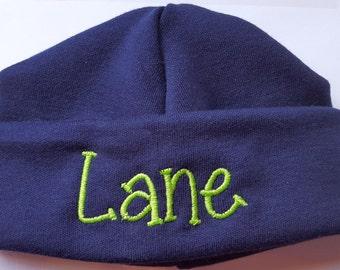 Monogrammed Personalized Embroidered Newborn Beanie