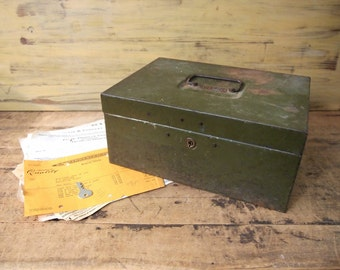 Vintage Metal Document box Army Green Security box with working key and handle