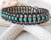 Rhinestone Bead Bracelet - Beaded Wrap Bracelet - Leather Wrap Bracelet - Boho Wrap Bracelet - Turquoise and Gunmetal Bracelet