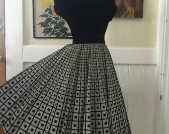 1950s dress 50s 2 piece set vintage dress size medium circle skirt party dress skirt and top set