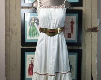 Fall sale 1970s peasant dress 70s sundress size small Vintage cotton sundress bohemain hippie