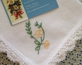 Missing You -  Hand Embroidered Sympathy Handkerchief - Loss of Mother or Father