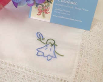 Bluebell & Lace - Hand Embroidered Mother's Day Handkerchief