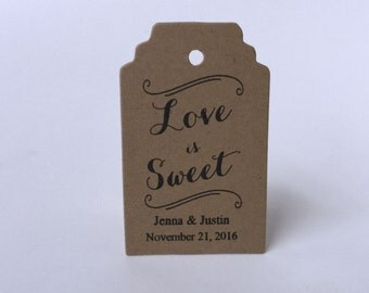 Wedding Favor Tags - Love is Sweet Tags - Mason Jar Tags - Candy Favor Tags - Honey Favor Tags - Bridal Shower Favor Tags - Wedding Gift Tag
