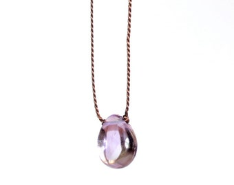 Amethyst Necklace/Cord Necklace/Elegant and Simple Jewelry