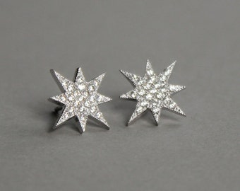 Star Studs/Crystal Pave/Gift Ideas/Dainty Jewelry