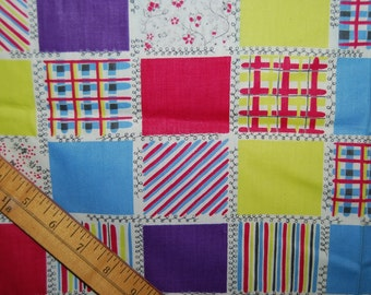 Over 2.5 yds VINTAGE 40s 50s patchwork style fine cotton