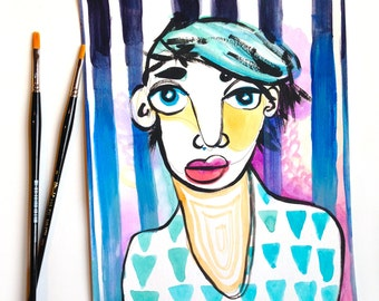 Abstract Colorful Portrait - Blue Hair - 9x12 - Painting on Paper