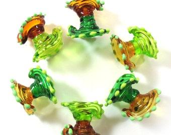 Lampwork beads set, lampwork glass beads, Japanese Dresses Beads, green and amber (6) SRA