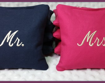 Mr. and Mrs. Wedding Cornhole Bags Set of 8 Navy and Hot Pink