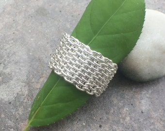 Sterling Silver Wide Woven Bold Mesh Ring US Size 6