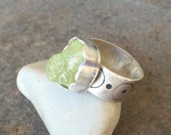 ON SALE - Grossular Garnet Sterling Silver Bold Statement Handstamped Ring US Size 6