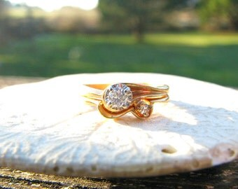 Vintage 1940's Diamond Wedding Set, Charming Matching Engagement Ring with Wedding Band, Sparkly Diamonds and Sweet Swirl Design, 14K Gold