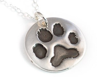 Pawprint Necklace with Your Pet's Actual Paw Print - .999FS Fine Silver - Paw Print Necklace - Pawprint Necklace - Pet Memorial
