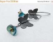 butterfly earrings, dangle earrings, drop earrings, boho earrings, bohemian jewelry, gift for mom, gift for her, green, garden  inspired