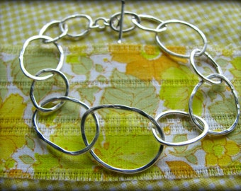 Organic Infinity Linked Ring Bracelet - Sterling Silver Artisan Crafted - Gift Mom Wife Spouse Partner Girlfriend Best Friend Nana Birthday