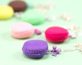 Macaron Necklace with Bow - Lavender - Purple