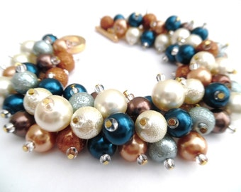 Festival Bracelet Teal Tan and Ivory, Pearl Bridesmaid, Wedding Jewelry, Bracelet and Earrings, Cluster Bracelet, Chunky Bracelet, Boho Chic