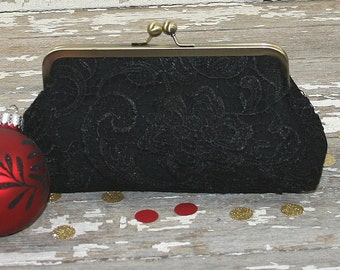 Gift For Her, Black clutch bag, black evening clutch, black bridal clutch, black lace clutch, black clutch purse, black lace purse,