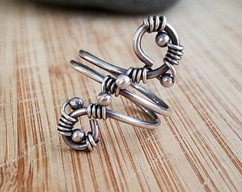 Sterling Silver Swirl Wire Wrapped Ring Sterling beads Size 6.5 Handmade Jewelry Simple Weave Oxidized Sterling Silver Wire Wrap