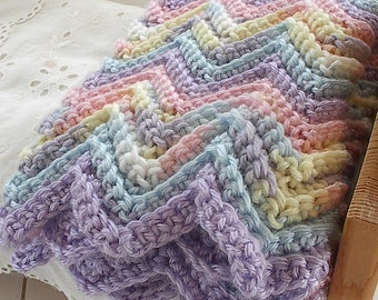 """Ripple Zig Zag Crocheted Doll Afghan Blanket in Pastel Colors Handmade for 14"""" to 18"""" American Girl and Waldorf Dolls Measures -16"""" x 20"""""""