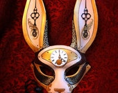 READY TO SHIP March- of-Time Hare ... leather clockwork rabbit mask  leather mask halloween burning man mardi gras mask