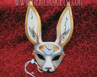 RESERVED for Joey.... custom March-of-Time Hare.. made to order leather clockwork rabbit mask