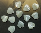 18 Vintage Mother of Pearl Hearts Cabochon Findings No Hole