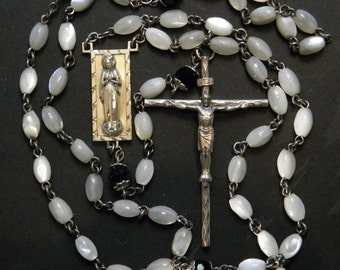 Vintage Sterling Rosary Mother of Pearl Beads Religious