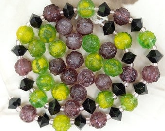 Vintage Beads Pressed Glass Roses Lime Green Purple
