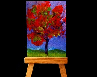 ACEO The Red Tree Painting, Original Acrylic Mini Art, Shelf Art, Gift Idea, Optional Easel