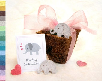 26 Seed Paper Elephant Baby Shower Favors - with Pots - Plantable Elephant Seed Paper Baby Pink and Baby Blue - Gender Neutral