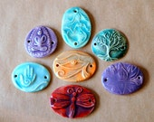 7 Ceramic Link Beads - 2 Holed Bracelet Beads - Mermaid, Tree, and Dragonfly Connector beads for bracelets or cuffs