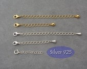Necklace extender chain, extention chain, add on choker extender, collar adapter, Sterling Silver 925 extender chain