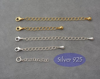 Necklace extender chain, extension chain, add on choker extender, collar adapter, Silver 925 extender chain, necklace or bracelet extension