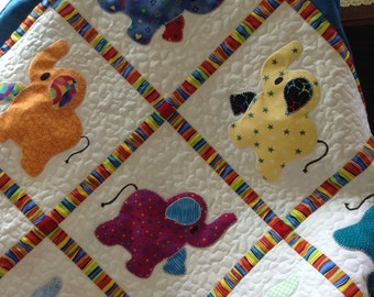 Elephant Treasures handmade quilt baby boy